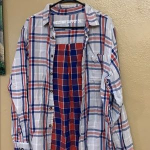 Red white and blue flannel